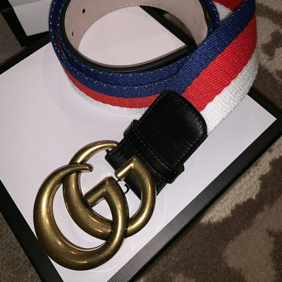 d0817def4 Gucci Accessories | Mens White Red Blue Gg Belt Sz105 Us36 | Poshmark